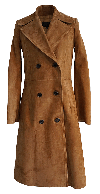 Suede tobacco trench and cinched blazer from Oak Hall